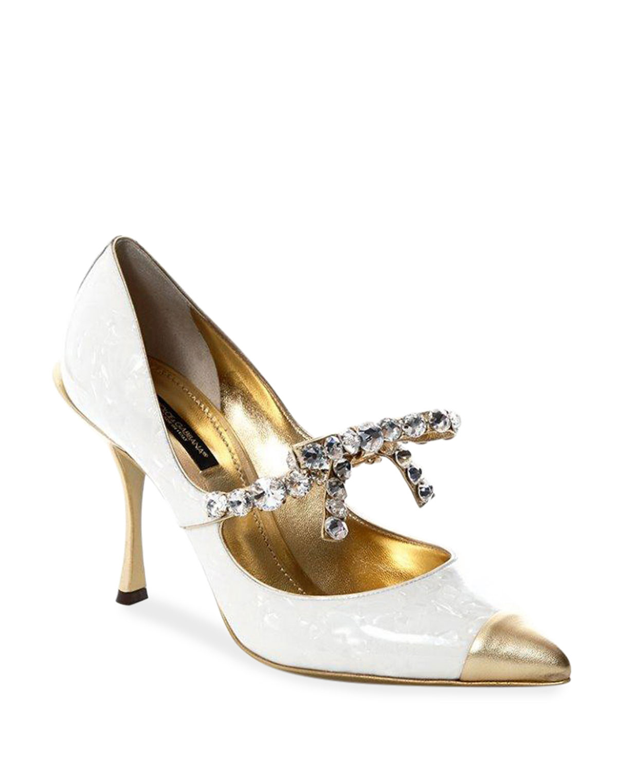 Patent Leather Pumps with Crystal Trim