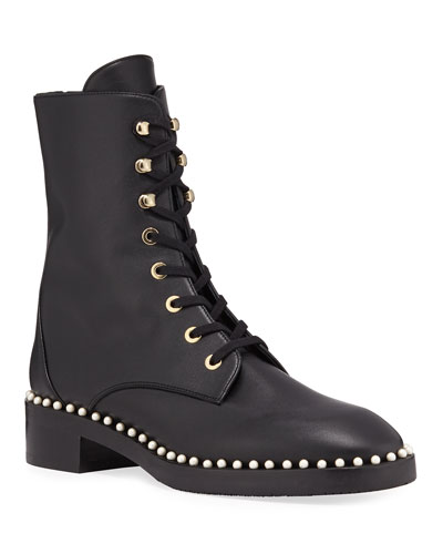 Sondra Pearly-Studded Combat Boots