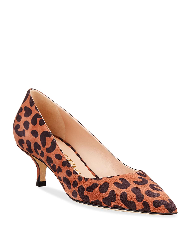 Cindy Leopard-Print Kitten-Heel Pumps