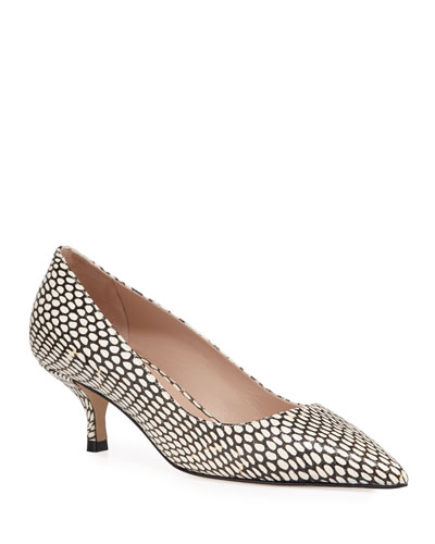 Cindy Snake-Print Kitten-Heel Pumps
