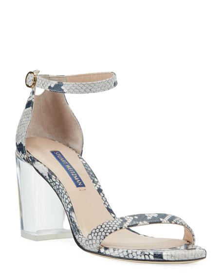 Stuart Weitzman Nearlynude Clear-Heel Snake-Print Sandals
