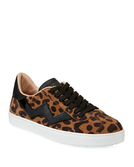 Stuart Weitzman Daryl Leopard Suede Low-Top Sneakers
