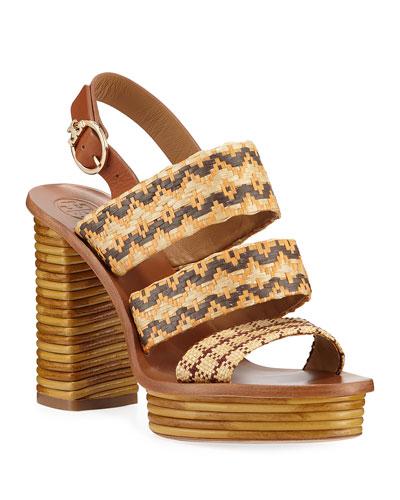 Patos Woven Raffia Platform Sandals