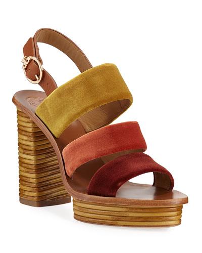 Patos Velour Banded Platform Sandals
