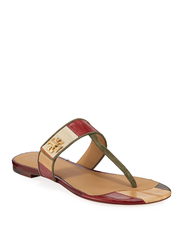 Kira Patchwork Leather Flat Sandals