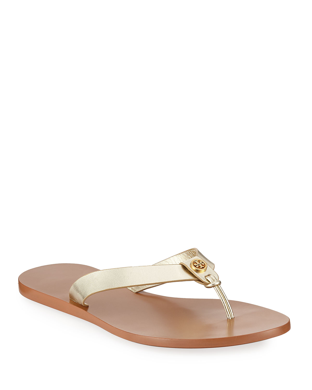 Manon Metallic Leather Thong Sandals