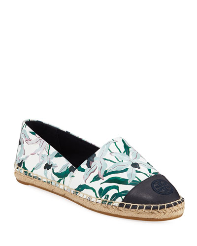 Printed Leather Slip-On Espadrilles
