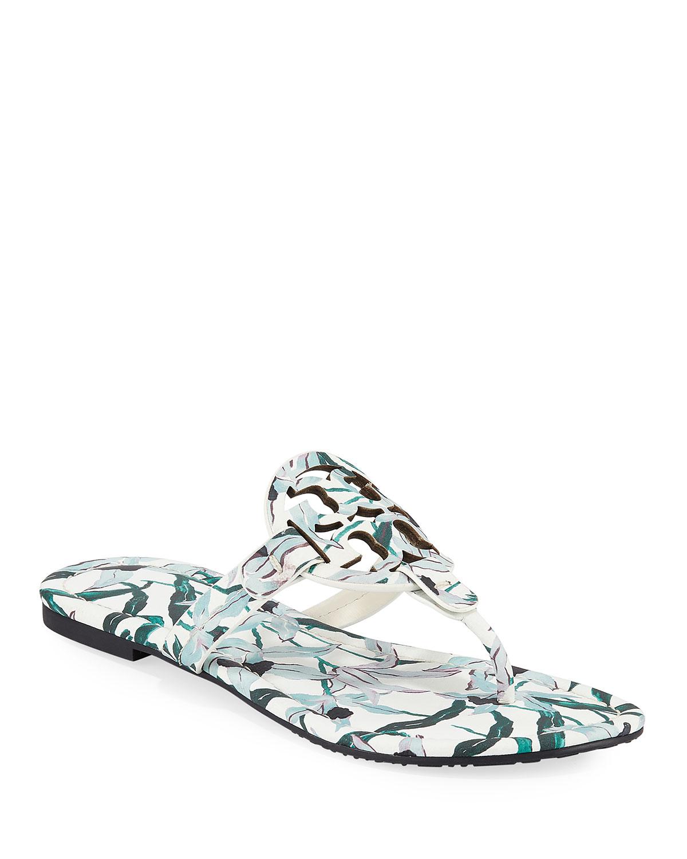 Miller Medallion Floral-Print Leather Flat Thong Sandals