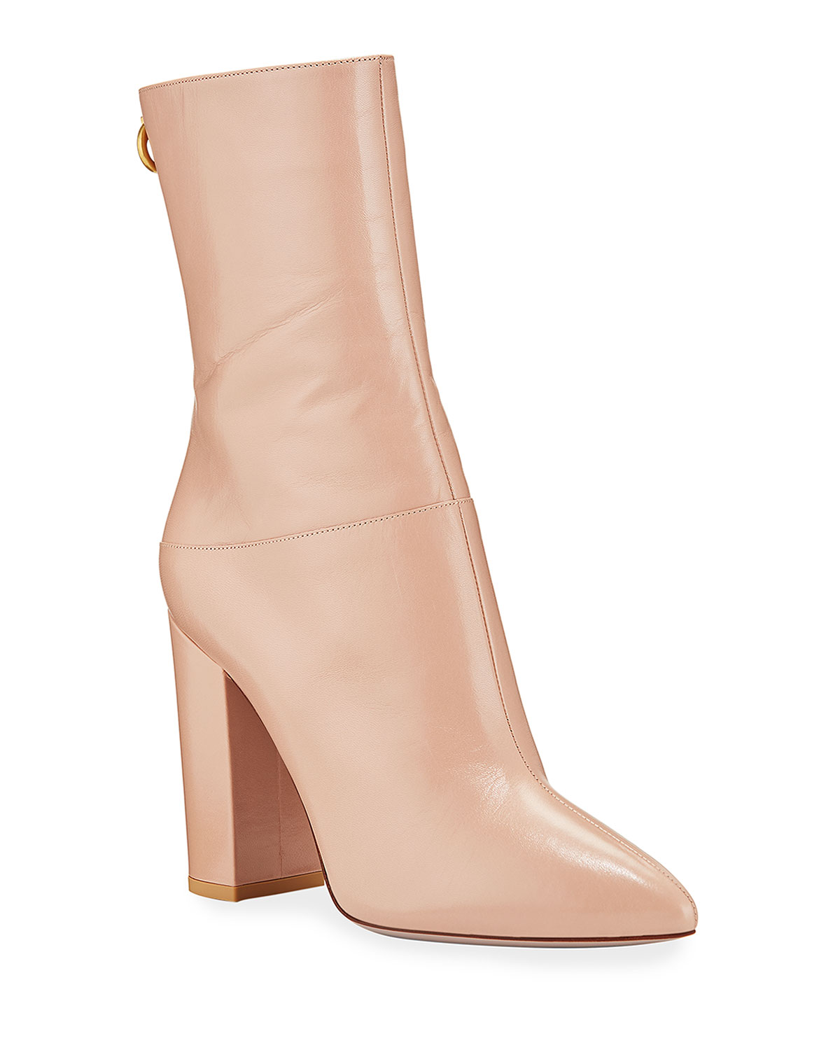 Ring Rockstud Leather Booties