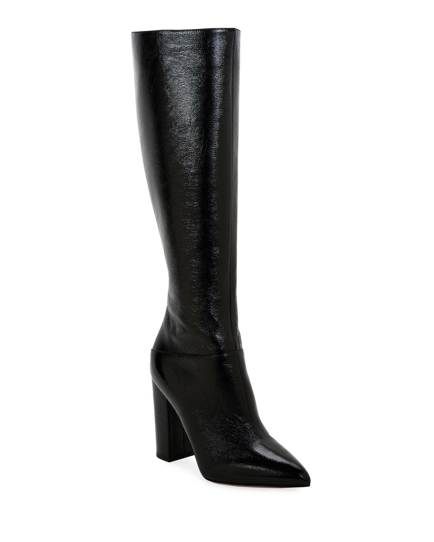 Ring Rockstud Patent Knee Boots