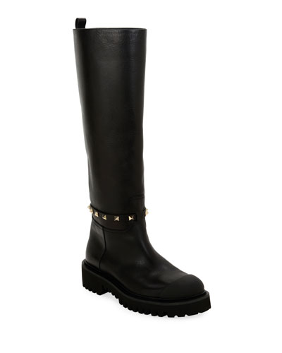 Lug-Sole Biker Knee Boots