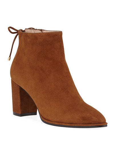 Gardiner Suede Block-Heel Ankle Booties