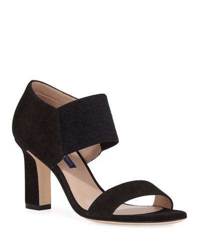 Ezra Stretch-Strap Suede Sandals