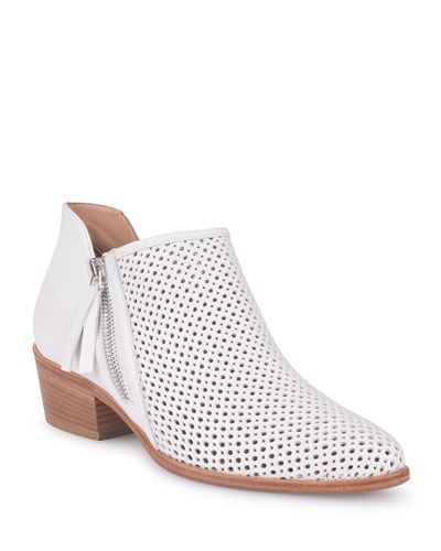 Saria Perforated Leather Ankle Boots