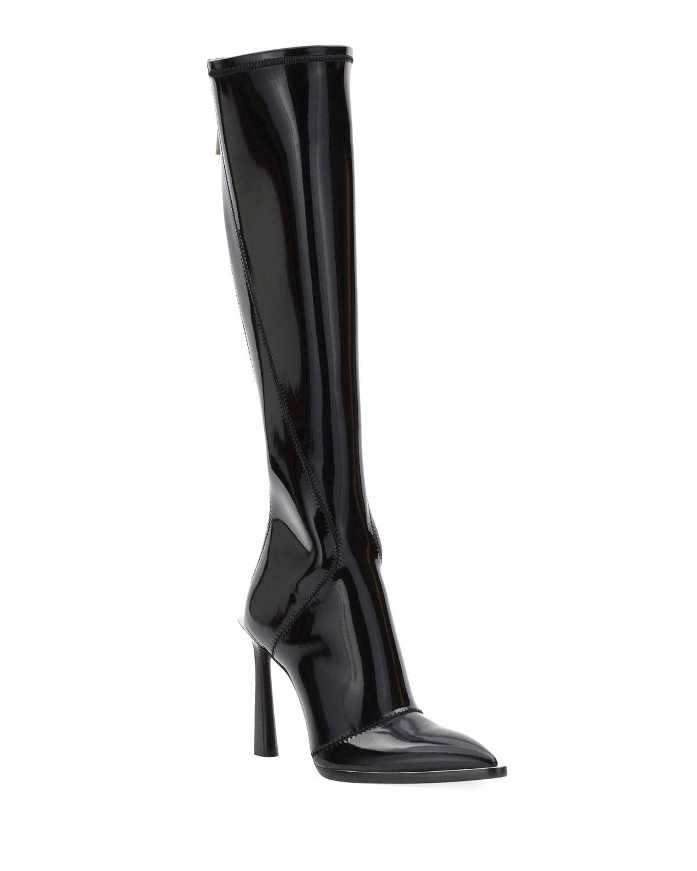 Neoprene To-The-Knee Boots, Black