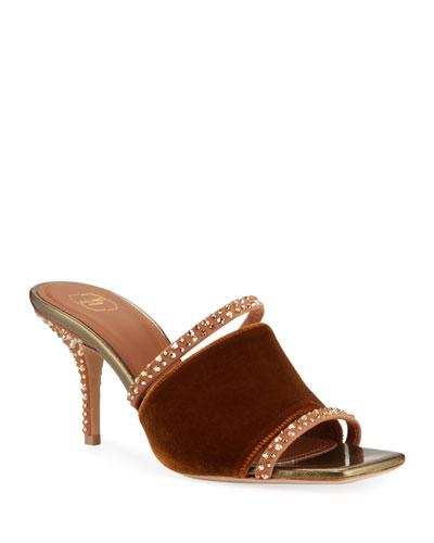 Velvet Embellished Mule Sandals