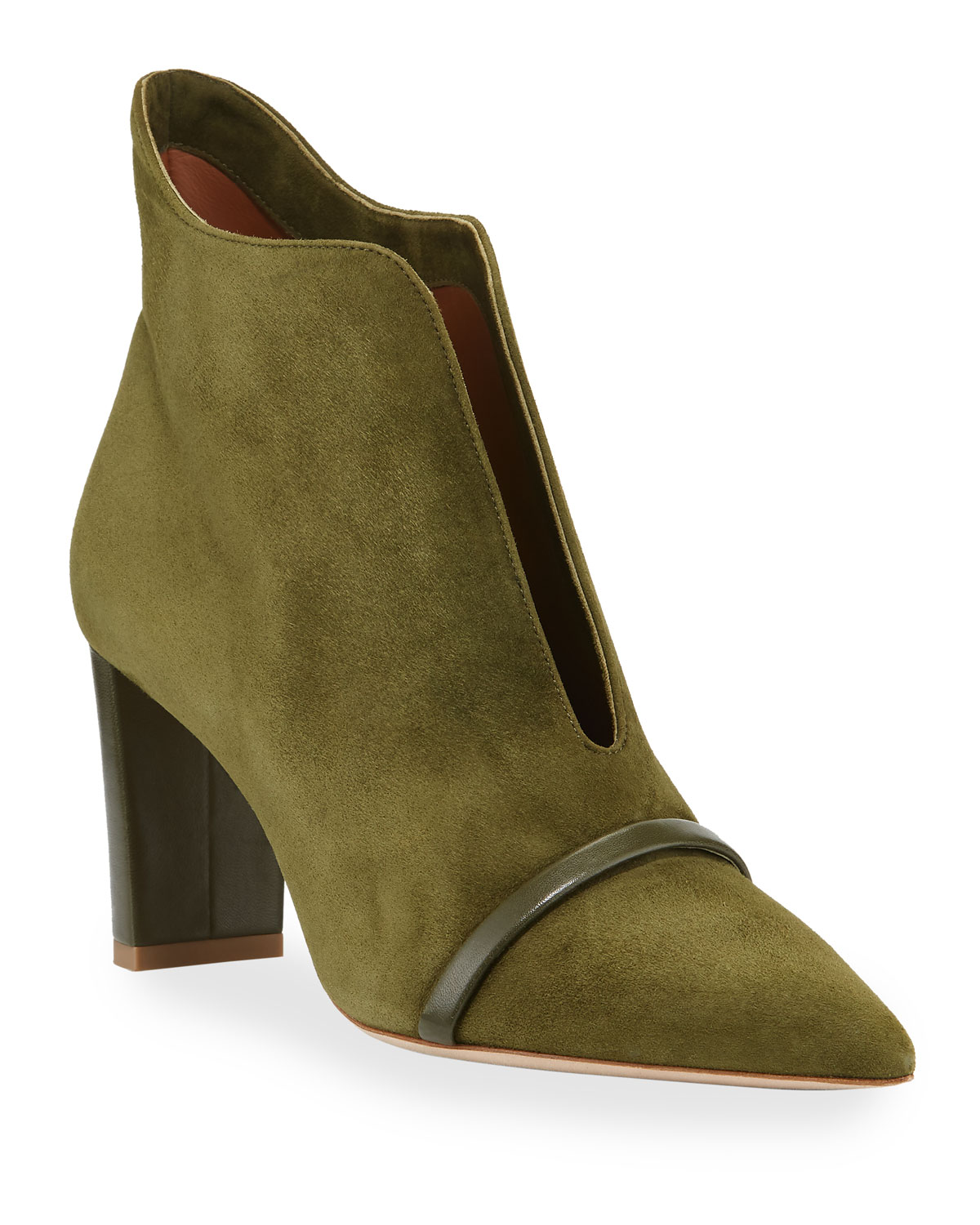Open-Front Suede Ankle Booties