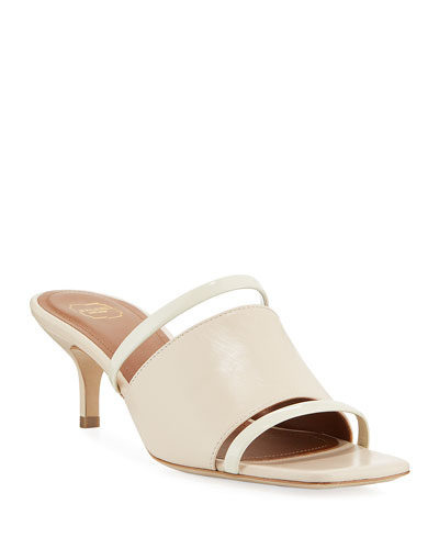 Banded Leather Kitten-Heel Slide Sandals