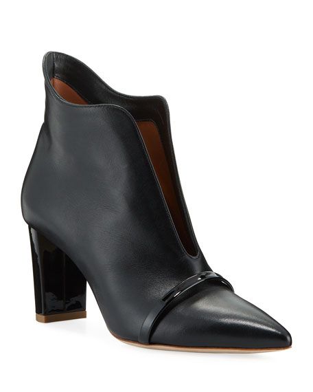Malone Souliers Open-Front Leather Ankle Booties