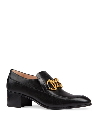 Women's Leather Horsebit Chain Loafers