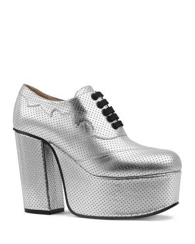 Metallic Leather Platform Lace-Up Shoes