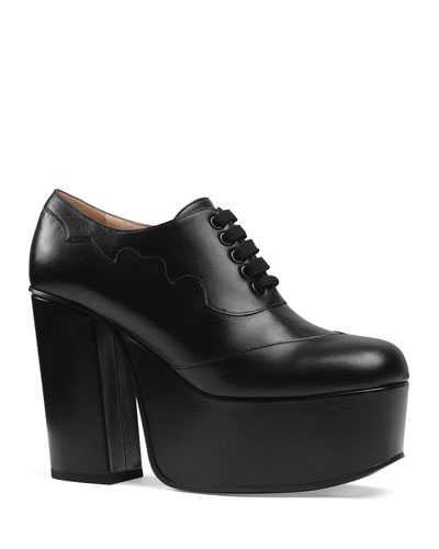 Leather Platform Lace-Up Shoes