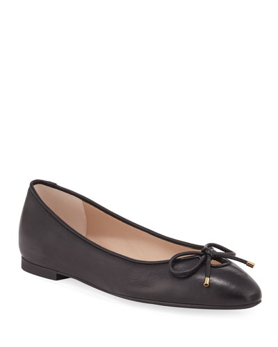 Gabby Leather Keyhole Bow Flats, Black
