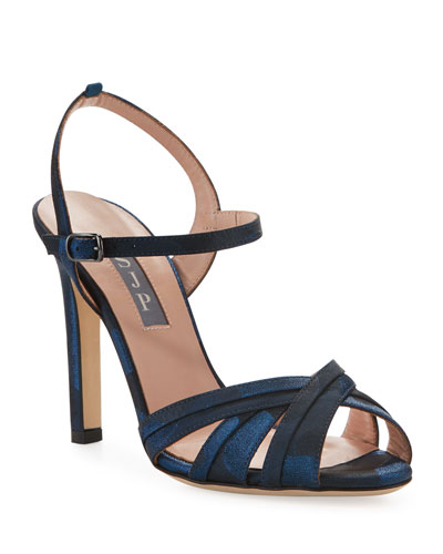 Cadence High-Heel Camo Satin Sandals