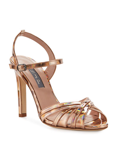 Cadence Hologram High-Heel Leather Sandals