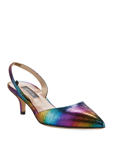 Bliss Rainbow Metallic Low-Heel Pumps
