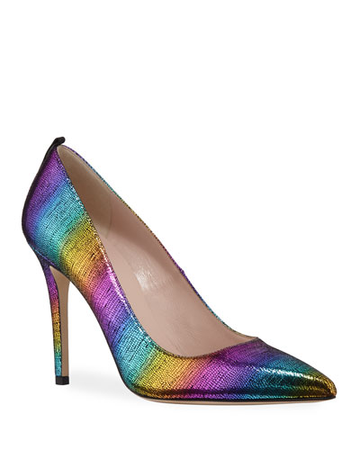 Fawn Rainbow Metallic High-Heel Pumps
