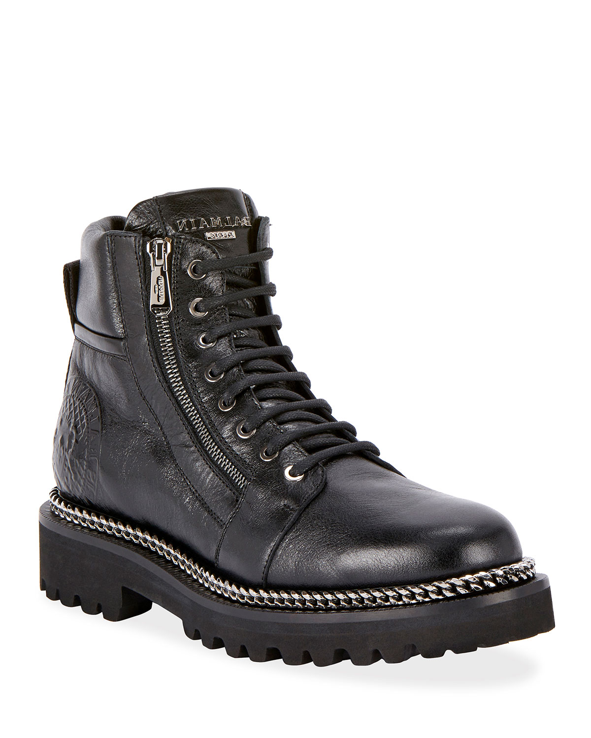 Army Shiny Chain-Trim Boots