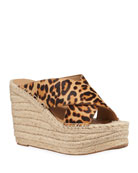 Marc Fisher LTD Adenly Leopard-Print Espadrille Sandals