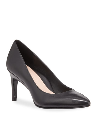 Gabriela Leather Low-Heel Point-Toe Pumps