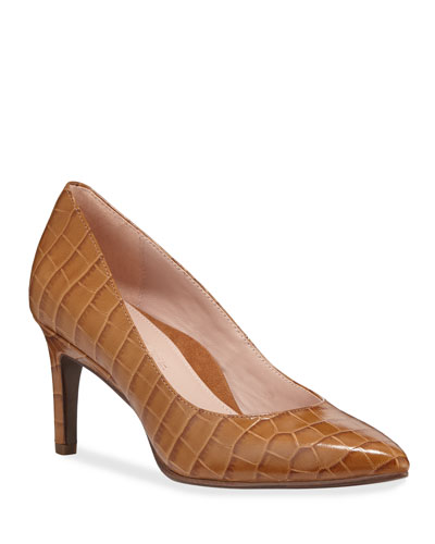 Gabriela Low Crocodile-Print Pumps