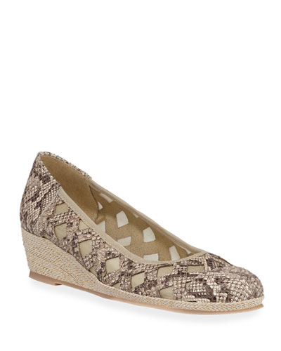 Myra Snake-Print Demi-Wedge Pumps