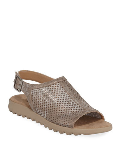 Tracy Perforated Metallic Flat Sandals