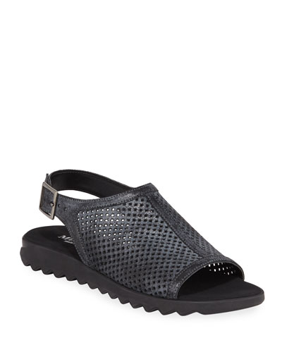 Tracy Perforated Shimmery Flat Sandals