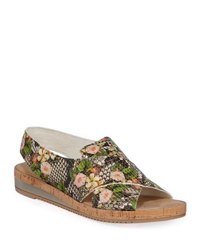 Sabita Floral Snake-Print Sandals