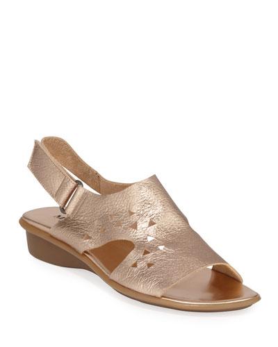 Eve Metallic Cutout Demi-Wedge Sandals