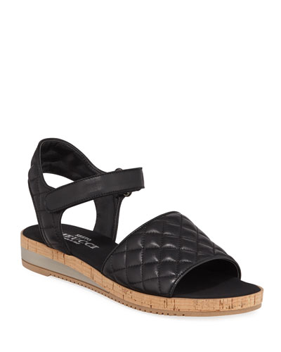 Sela Quilted Leather Flat Sandals, Black