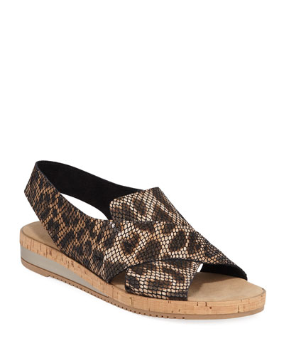 Sabita Snake-Print Leather Comfort Sandals