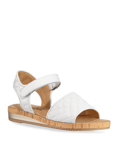 Sela Quilted Leather Flat Sandals, White