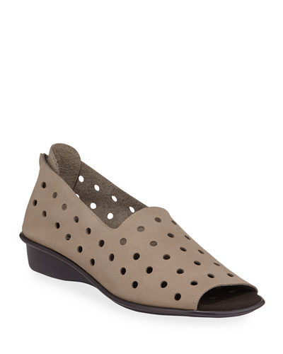 Edwina Perforated Demi-Wedge Sandals