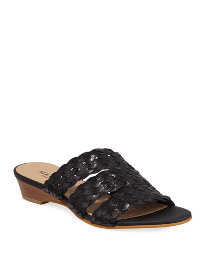Gale Woven Demi-Wedge Slide Sandals