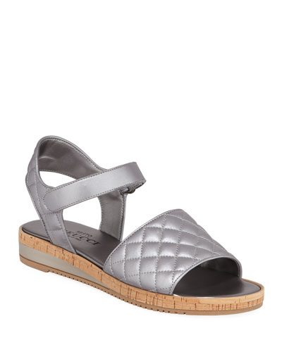 Sela Quilted Metallic Leather Sandals