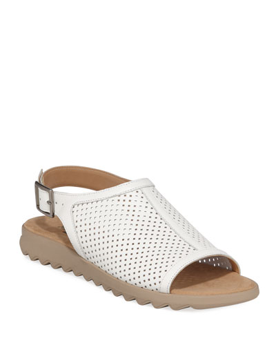 Tracy Perforated Leather Flat Sandals