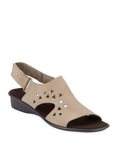 Eve Cutout Nubuck Demi-Wedge Sandals