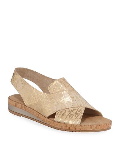 Sabita Metallic Croc-Print Comfort Sandals