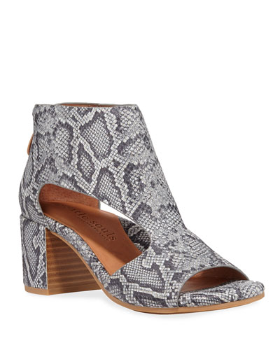 Charlene Cutout Snake-Print Sandals